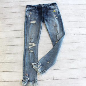 Express Women's Jeweled Distressed Jeans Size 6